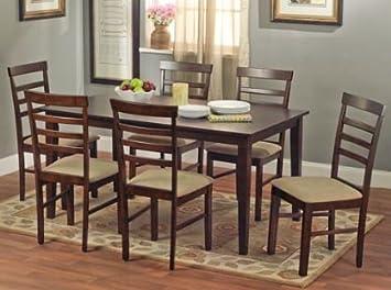 Havana 7 Piece Dining Room Set Dinette Table Seats 6 Espresso Brown