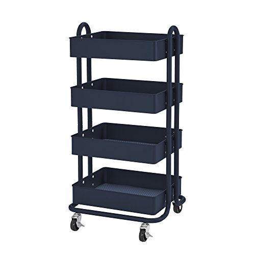 ECR4Kids 4-Tier Metal Rolling Utility Cart - Heavy Duty Mobile Storage Organizer, - Storage Containers Cart