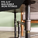 """Pipe Decor 3/4"""" x 24"""" Malleable Cast Iron Pipe, Pre Cut, Industrial Steel Grey Fits Standard Three Quarter Inch Black Threaded Pipes Nipples and Fittings, Build Vintage DIY Furniture, 4 Pack"""