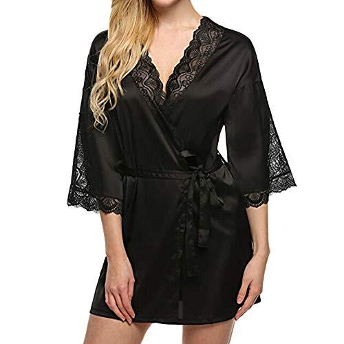 Dressin Womens Sleepwear Lace Trim Satin Underwear 3/4 Sleeve Chemise Babydoll Nightgown Nightie ()