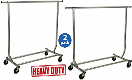 "Only Garment Racks True Commercial Grade Rolling Racks Designed with Solid ""One Piece"" Top Rails (Economically Sold in a Set of 2 Racks)"
