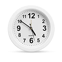 OCEST 6 Inch Simple Small Bedside Student Desk Clock, Battery Operated Travel Kids Alarm Clock, Silent No Ticking Analog Quartz Bedroom Office Kitchen Living Room Decorative Wall Clock