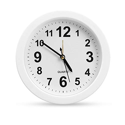 OCEST 6 Inch Simple Small Bedside Student Desk Clock, Battery Operated Travel Kids Alarm Clock, Silent No Ticking Analog Quartz Bedroom Office Kitchen Living Room Decorative Wall Clock (Clock Round Table)