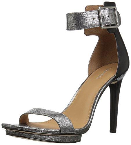 Calvin Klein Women's Vable Heeled Sandal, Dark Silver, 9 Medium US by Calvin Klein