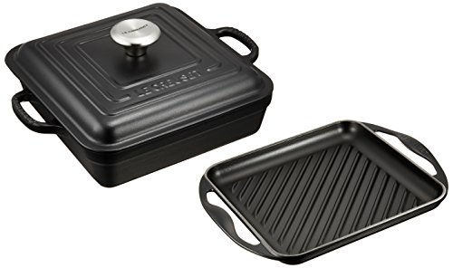 LE CREUSET Signature Cocotto Square 24cm & Grill Carré Set (Matt Black)【Japan Domestic Genuine Products】【Ships from Japan】