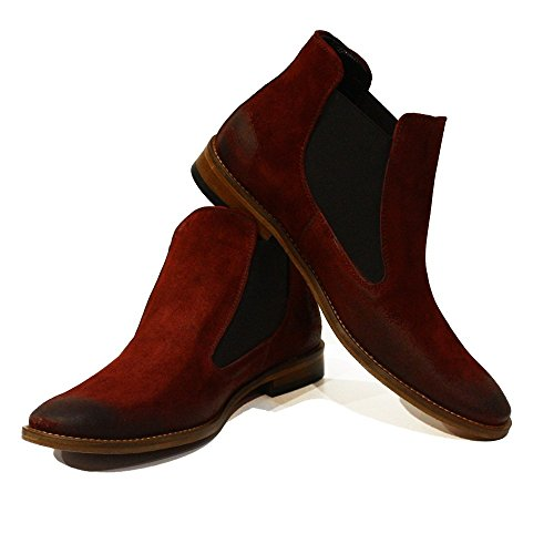 Slip Modello PeppeShoes Suede Mens On Cowhide Leather Italian Boots Red Chelsea Handmade Costantino Ankle 7wqdwa6