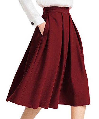 Yige Women's High Waisted A line Skirt Skater Pleated Full Midi Skirt Wind Red US16