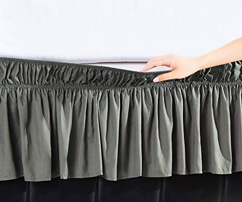 Orient Home Collection De Moocci Luxury Wrap Around Style, Elastic Bed Wrap Ruffled Bed Skirt 16inch Drop, Platform Free, 2 Sizes, 100% Polyester (Grey Queen/King) ()