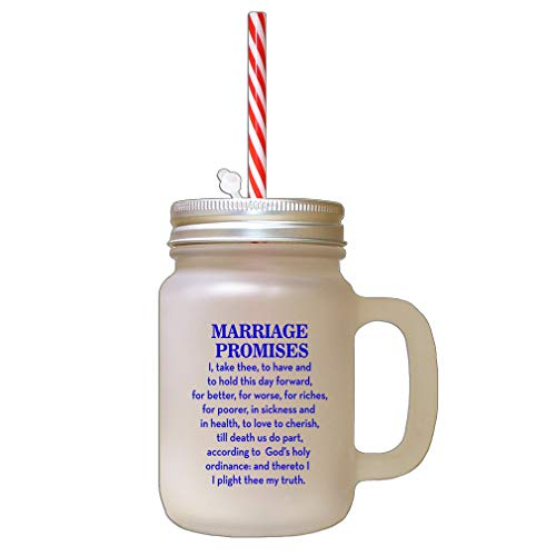 Royal Blue Marriage Promises I Take Three To Have And To Hold This Day Forward For Better Frosted Glass Mason Jar With Straw -