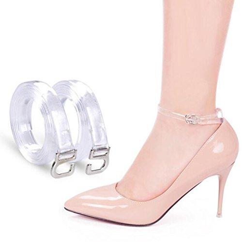 2Pairs Women's Transparent Detachable Handy Elasticated Shoe Straps High Heels Anti-Loose Shoelace Accessories (11.4inch)
