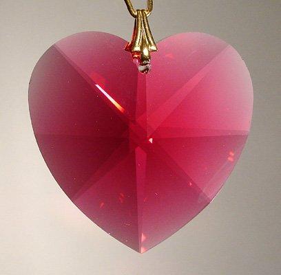 Swarovksi 28mm Bordeaux Faceted Heart Prism
