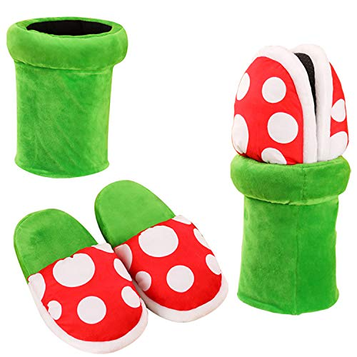 Piranha Plants Plush Home Wear Slippers Cannibal Flower Shape Cosplay Shoes/Dot Pattern Slippers Loafer with Pipe Pot Holder for Adults Teens Women and Men (Mario Plush Slippers)