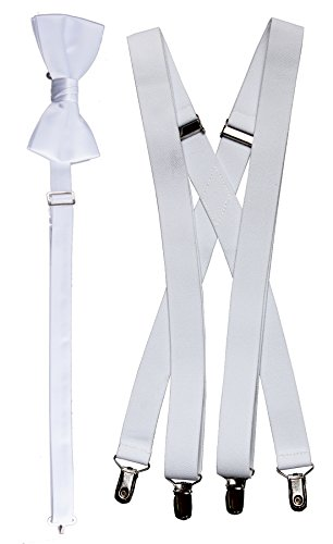 Tuxgear Boys Bow Tie and Suspender Set Combo, White, Young Men 40 Inch (40