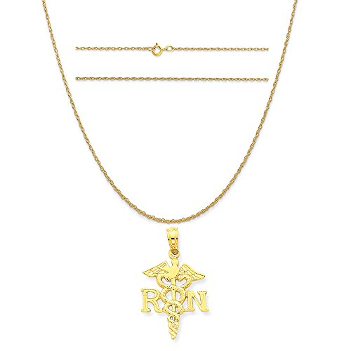 K&C 14k Yellow Gold Polished R.N. Pendant on a 14K Yellow Gold Carded Rope Chain Necklace, 18