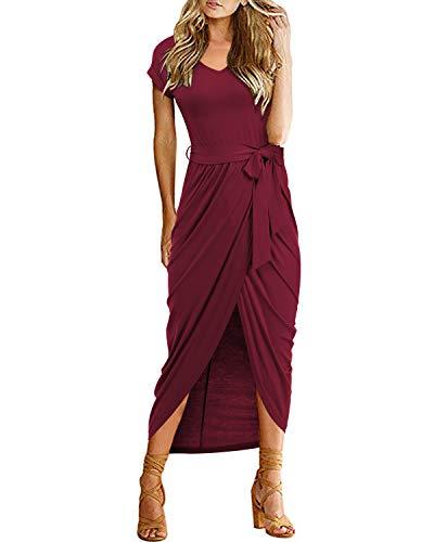 VIUVIU Women Casual Short Sleeve O Neck Dress Split Asymmetrical Long Dresses with Belt Wine red S