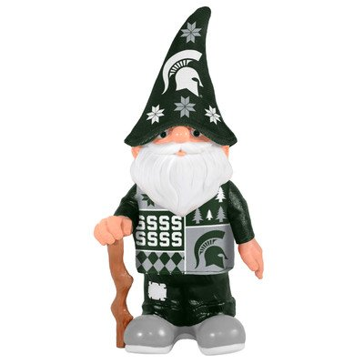 Michigan State Spartans Slippers (NCAA Michigan State Spartans Real Ugly Sweater Gnome - Busy Block, Green)