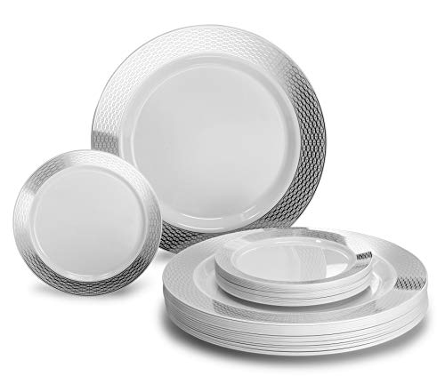 OCCASIONS 50 Plates Pack, Heavyweight Premium Disposable Plastic Plates Set (25 x 10.5 Dinner + 25 x 6 Cake plates) (Diamond in White & Silver)