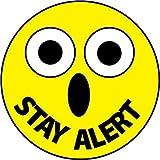 NMC HH82 2'' x 2'' PS Vinyl Hard Hat Emblem w/Legend: ''Stay Alert'', 12 Packs of 25 pcs