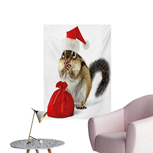 Prada Boston Bag - Anzhutwelve Christmas Wallpaper Chipmunk in Red Santa Claus Hat and Bag with Surprise Xmas PresentsPale Yellow White Red W32 xL48 Custom Poster