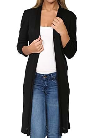 Ht New York Women's Lightweight Open FrontBlack Color CozyLong Thin Cardigan Sweater Top (4, Black)