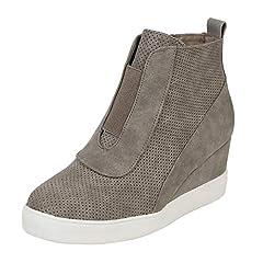 c3eca0544357 Womens Platform Sneakers Hidden Wedges Zip up Perforated Ankle ...