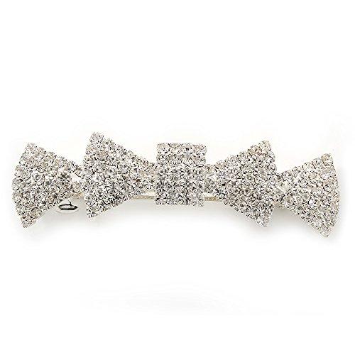 Avalaya Bridal Wedding Prom Silver Tone Pave-Set Diamante