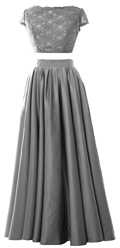 MACloth Women 2 Piece Prom Gown Cap Sleeves Lace Long Formal Evening Party Dress Gris