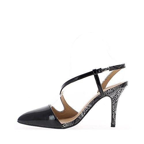 Sandales noires à talon fins de 10cm bouts pointus