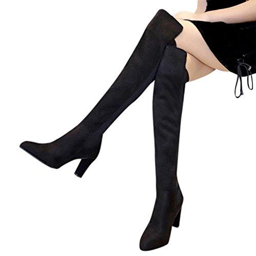 Montantes Su Femme Overdose Chaussures Sexy Talon Bottes Haut en Carre Cuissardes FCwq400