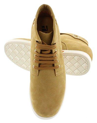 Toto-d7086-7,6cm Grande Taille-Hauteur Augmenter Chaussures ascenseur-Sable du désert en nubuck à lacets Bottes