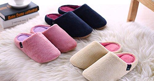 KISS GOLD(TM) Zapatillas de Casa de Terciopelo Coral Artificial Blanda Cálido para Invierno Beige