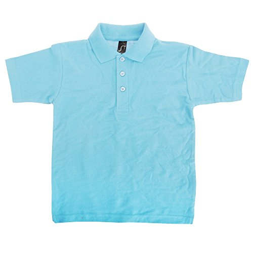 SOLS Kids Big Boys Summer II Pique Polo Shirt (4yrs (Height 38-41 Inches)) (Sky Blue)