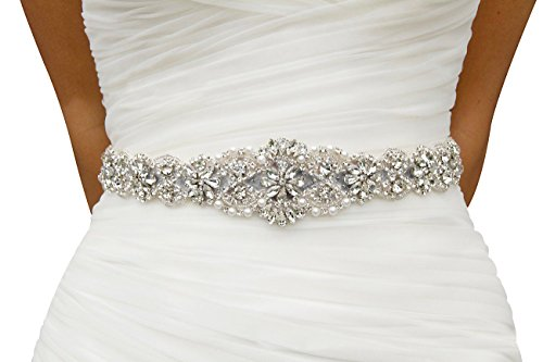 - Lovful Bridal Crystal Rhinestone Braided Wedding Dress Sash Belt,Black Sash, One Size