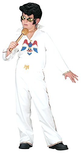 Kids-Costume Elvis Child White Jumpsuit Sm Halloween Costume - Child Small (Elvis White Jumpsuit)