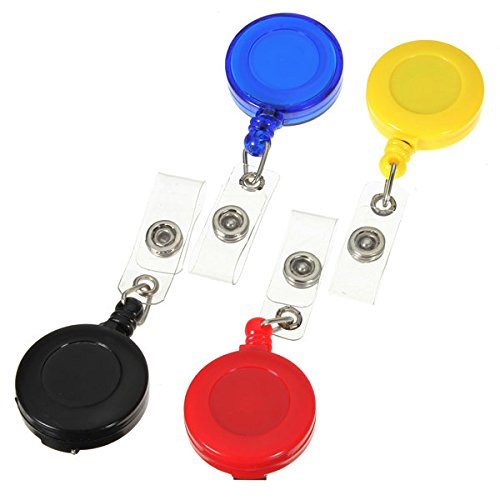 Retractable Card Key Holder Tag Reels Badge Plastic Belt Clip ( Blue - Superstitions Mall