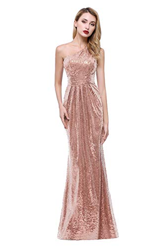 karever Women's Sequined Long Bridesmaid Dresses One Shoulder Pleat Rose Gold Wedding Party Gown, 22W
