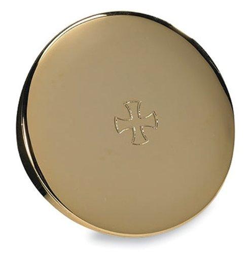 Gold Plate Brass Etched Budded Cross 3'' Minister Clergy Hospital Travel Host Pyx