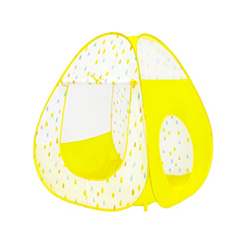 Pop Up Play Tent With Tunnel Ball Pit Play House For Boys Girls Indoor & Outdoor Use O/Zipper Storage Case (Yellow -