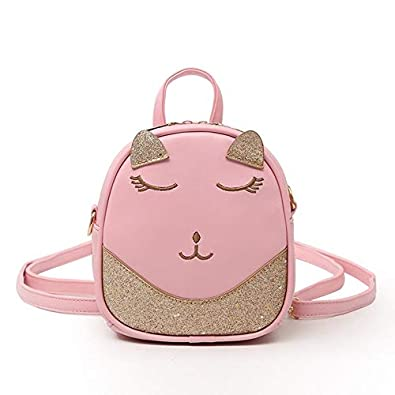 52257cb9fe8 Amazon.com: Sequined Patchwork Leather Shoulder Bag Cute Cat ...