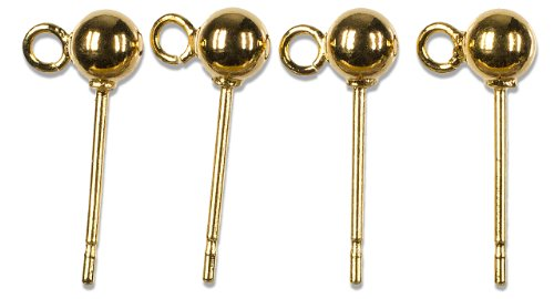 Cousin Gold Elegance 14K Gold Plate Post with Ball and Loop, (14k Gold Plate Bead)