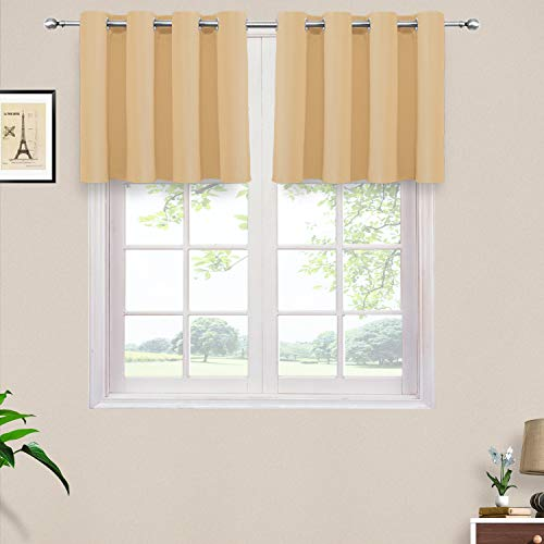 (PRAVIVE Room Darkening Small Window Curtains - Elegant Home Decorative Blackout Valance Tiers with Grommet Top for Café/Living Room/Nursery / Bedroom, 52