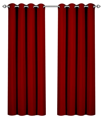 Utopia Bedding Blackout, Room Darkening Curtains Window Panel Drapes - (Burgundy Color) 2 Panel Set, 52 inch Wide by 84 inch Long Each - Burgundy Velvet Curtains