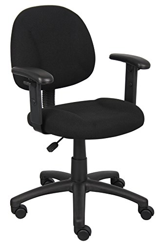 Boss Office Products B316-BK Perfect Posture Delux Fabric Task Chair with Adjustable Arms in Black