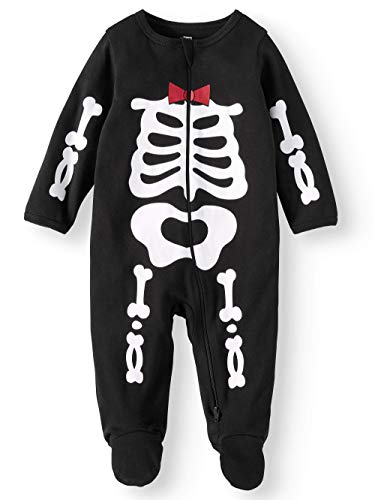 Assorted Policeman, Pumpkin, Cat, Ghost, Skeleton Baby Boys & Girls Halloween Footed Sleeper (0-3 Months, Red/White -