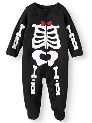 (Assorted Policeman, Pumpkin, Cat, Ghost, Skeleton Baby Boys & Girls Halloween Footed Sleeper (0-3 Months, Red/White)