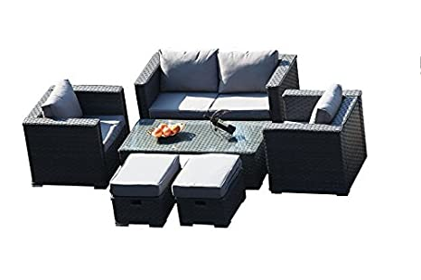 YAKOE 50124 2017 Mónaco 6 plazas ratán Muebles de jardín ...
