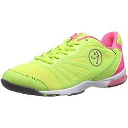 Zumba Women's Impact Pulse Dance Shoe, Yellow/Cerise Pink, 5 M US