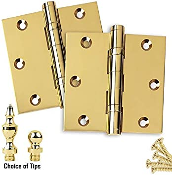 US3 Ball//Urn//Button Tips Included Door Hinges 3.5 x 3.5 Extruded Solid Brass Ball Bearing Brass Hinge Heavy Duty Polished Brass Set of 2 Hinges Stainless Steel Removable Pin Architectural Grade