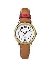 Timex Reloj de pulsera para mujer, correa de piel, Bronceado/Blanco, Una talla