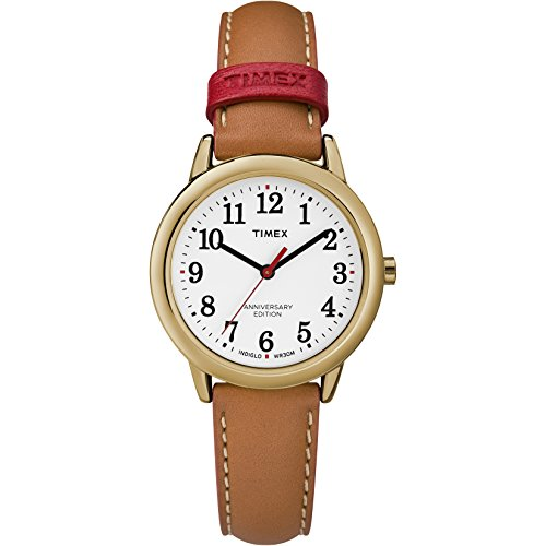 Timex Women's TW2R40300 Easy Reader 40th Anniversary Tan/White Leather Strap (Ladies Analog Easy Reader Watch)
